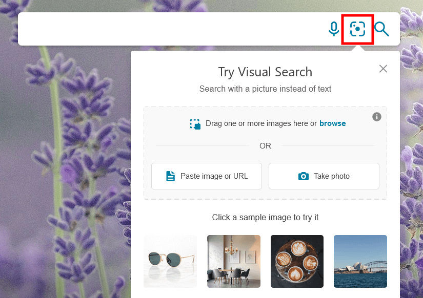 How to start a visual search using Bing