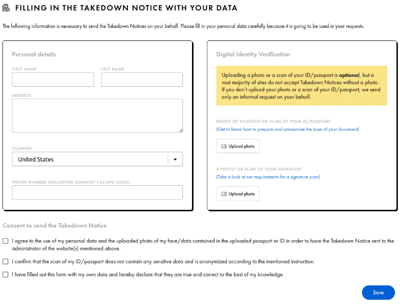 Fill out your personal data