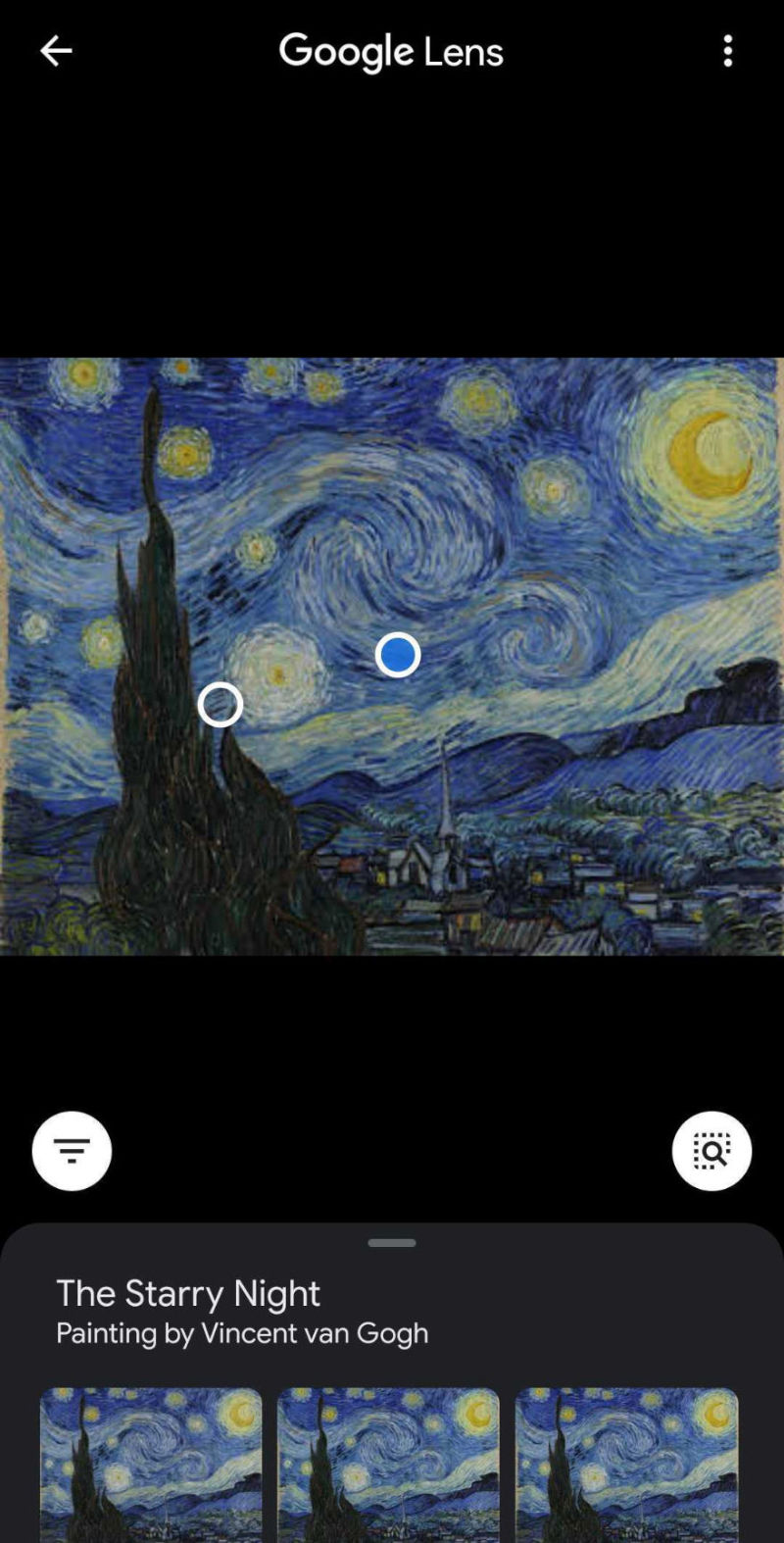 The Google Lens app can help you find similar images